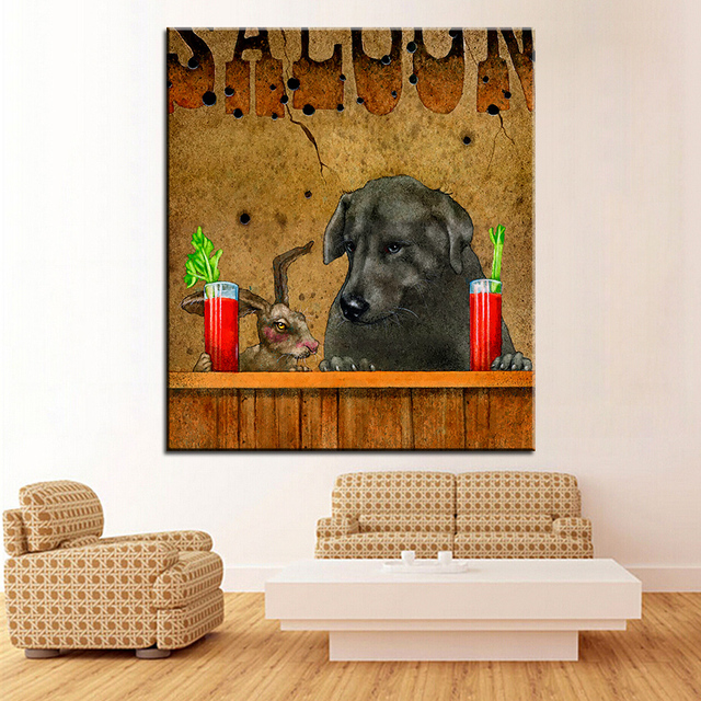 Large size Printing Oil Painting hare of the dog Wall painting Wall ...