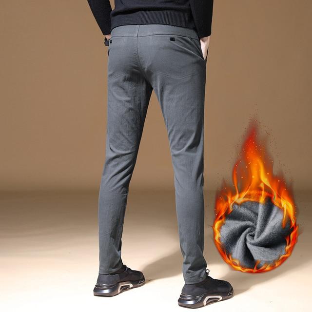 2019 Mens Winter Fleece warm Pants men Korean Casual Slacks Slim Warm thick Pants for men fashion Black gray Trousers male 47