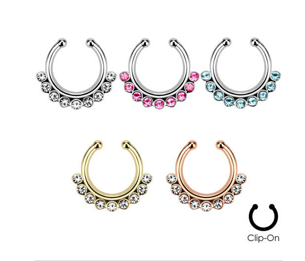 2015 Rushed Belly Button Rings U Shape Nose Rings Fake Navel Piercing Septum Ring Body Jewellery Clip Pircing Lip Nariz 12 Pcs