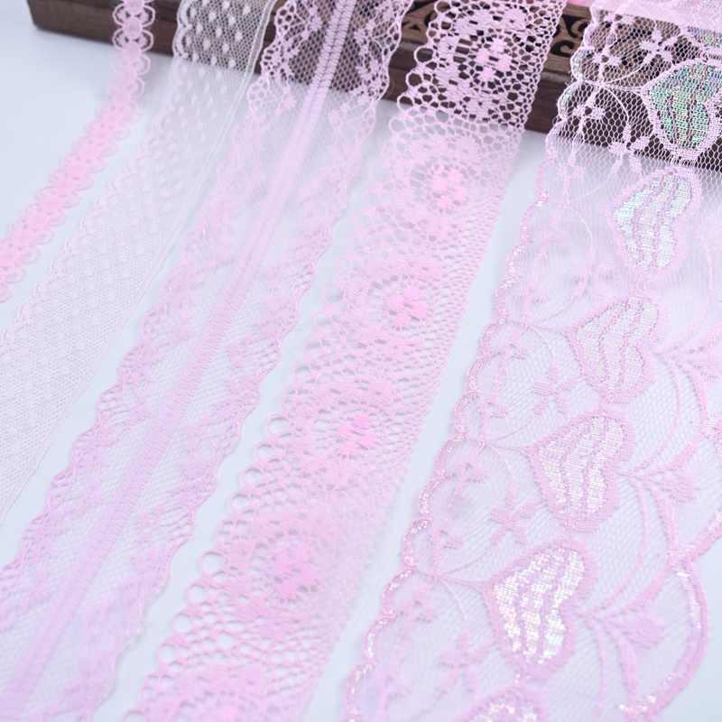 Commercio all'ingrosso a buon mercato! 10yards/Lot merletto di colore rosa del nastro del Organza del merletto del tessuto DIY del ricamo per cucire trim per abbigliamento/Casa/Vestito accessori