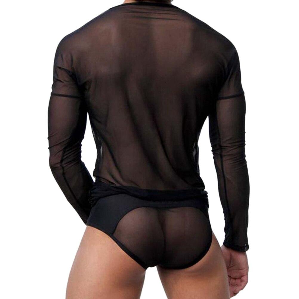 3f3cedf15cd0 Hot Sale T Shirt Men Sexy Transparent Sheer See Through Mesh Long ...