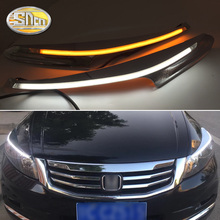 For Honda Accord 2011-2014, LED Headlight Brow Eyebrow Daytime Running Light DRL With Yellow Turn signal Light цена в Москве и Питере