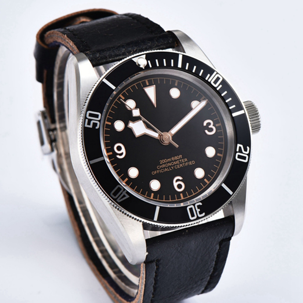 41mm Sterile Dial rosegold Marks watch men Sapphire Glass relogio masculino Black Bezel Mens Automatic mechanical wristwatches - 2