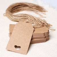 Rectangle And Circle Shape Design 50 PCs Brown Kraft Paper Hang Tags Wedding Party Favor Punch