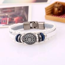 DK036 Handmade Boho Gypsy Hippie Brown White Leather Star Metal Charms Hematite  Button Beads Wrap Unisex Lobster Bracelet