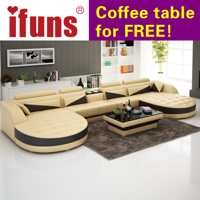 IFUNS European Style Living Room Furniture,modern Recliner Sofas,u Shaped  Brown Classic Leather