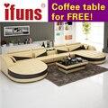Ifuns mobília da sala de estar de estilo europeu moderno, sofás do recliner, em forma de u de couro marrom clássico sofá chão