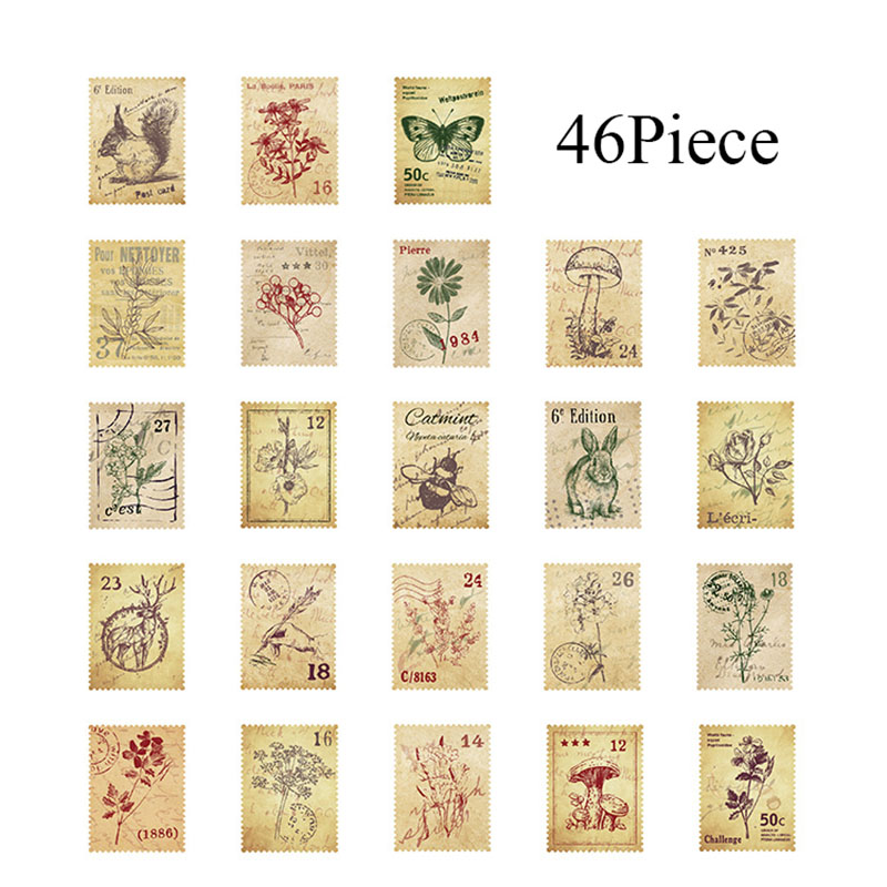 46pcs/box Stationery Stickers Vintage Stamp Sealing Label Travel Stickers Decorations Scrapbooking Diary Albums StationeryTape
