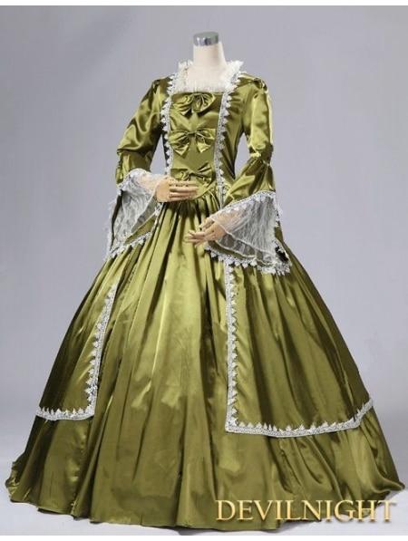 Satin trompette manches Marie Antoinette robe de bal masquée robe victorienne