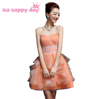 Girls Princess Strapless Orange Tulle Prom Special Occasion Formal Dresses Pageant Dress For Party Short Ball