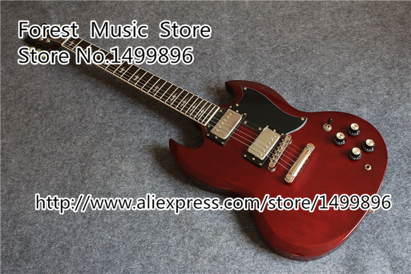 Wholesale & Retail China Aged Cherry Finish Angus Young SG Guitars Electric Free Shipping brand new angus young sunburst sg electric guitar brown custom free shipping chrome hardwares