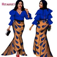 Hitarget 2018 african bazin dresses for women african long sleeves dresses in african clothing wax dashiki fabric 6xl WY2376