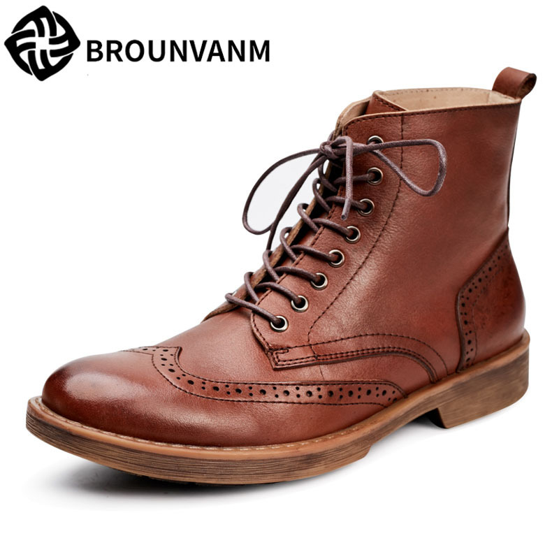 Winter leather boots fashion Bullock Martin boots thick round bottom for casual boots cowhide autumn winter breathable boots men 2017 new autumn winter british retro men shoes zipper leather breathable sneaker fashion boots men casual shoes handmade