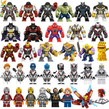 Avengers Endgame Marvel Super Hero Kapten Perang Mesin Kompatibel Legoed Hulk Thanos Galaxy Iron Man Angka Blok Bangunan Mainan(China)