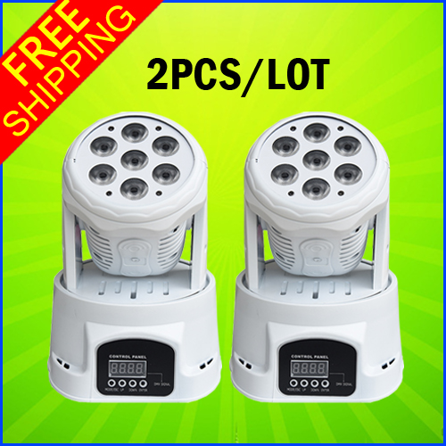 2 Units A Lot New 7*12W Mini LED Moving Head Wash Light Professional Indoor Lighting For Stage KTV DJ Home Party And Wedding