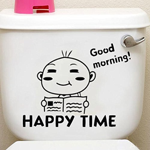 Removable DIY Waterproof Happy Time Pattern Toilet Sticker Bathroom Wall Stickers For Tile Glass Window Stickers Mural D878