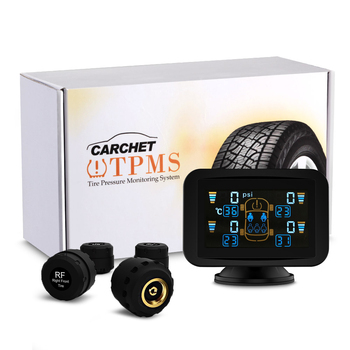 CARCHET 7M527C TPMS Tyre Pressure Monitoring Intelligent System+4 External Sensors with LCD Sucker Pressure Temperature Display