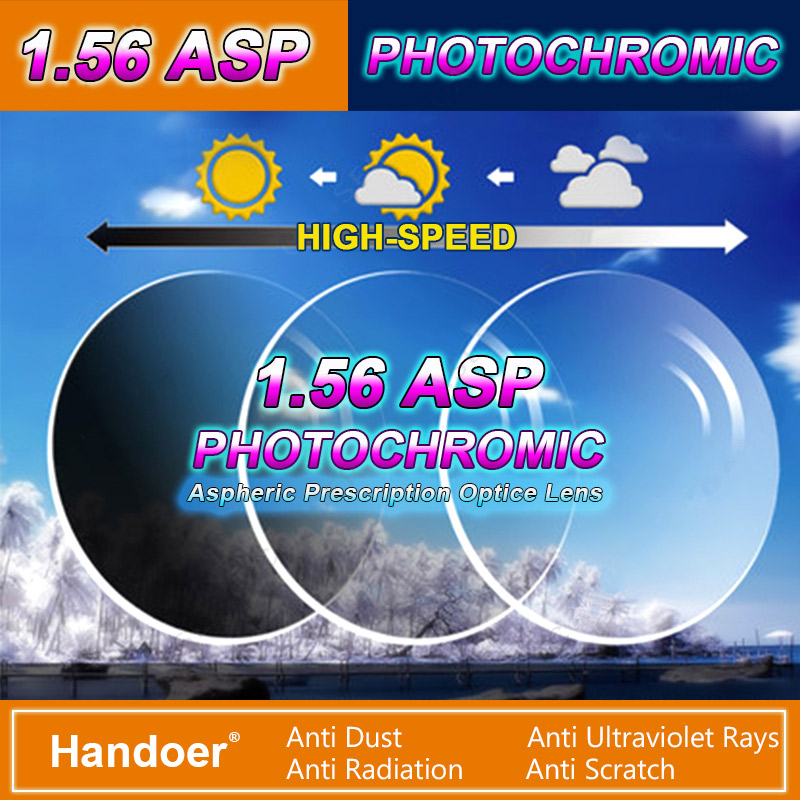 Handoer 1.56 Photochromic Single Vision Optical Prescription Lenses Fast Color Change Light-Sensitive Vision Correction Lens