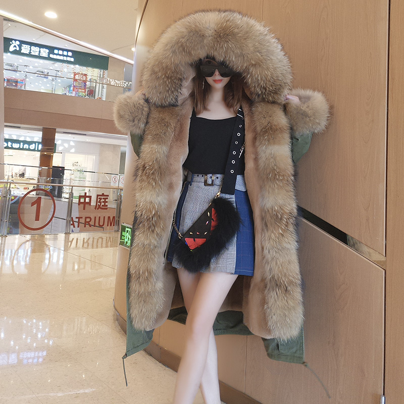 Winter Jacket Women X-long   Parkas   2019 Real Fur Coat   Parka   Natural Raccoon Fur Collar Thick Warm Outerwear Casual Detachable