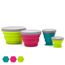 4PCs 600ml Silicone Collapsible Portable Lunch Box Microwave Folding Bento Bowl Travel Outdoor Food Storage Container