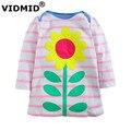 VIDMID 2-7 anos Meninas Do Bebê vestido da menina de manga longa vestidos de crianças princesa t camisa crianças blusa gato coelho t-shirt listrada