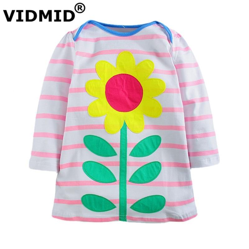 VIDMID 2-7 years Baby Girls dress girl long sleeve dresses kids princess t shirt children blouse cat rabbit striped t-shirt