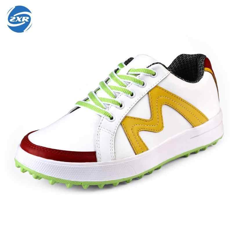 Zuoxiangru נשים גולף נעלי מותג אמיתי עור סניקרס עמיד למים ספורט גולף נעלי לאישה אנטי החלקה סניקרס נעלי גולף