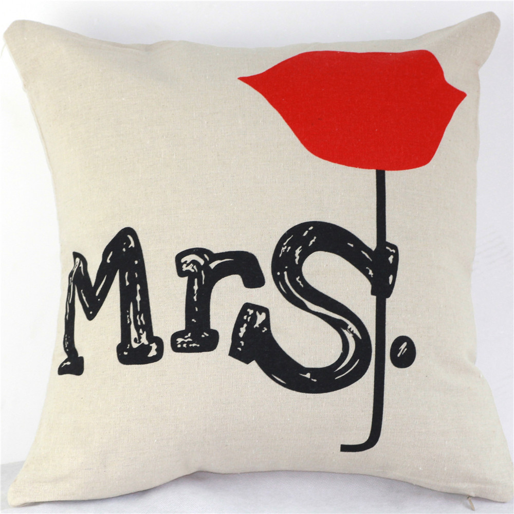 Dear Mrs Mr Cover Letter: Letters Love Mr Mrs Cushion Covers Custom Cotton Linen