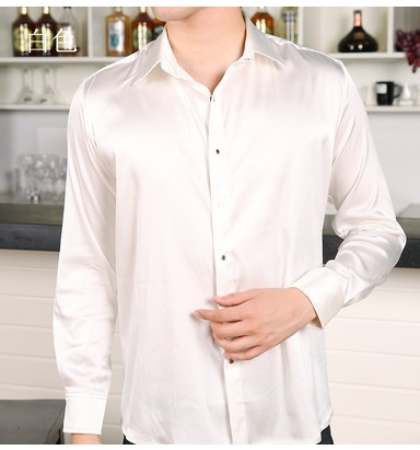 aa483e4542033 عدد كبير من الرجال الدهون الثقيلة قميص حريري كم إضافة الأسمدة لزيادة فضفاض  قميص حريري لون 2
