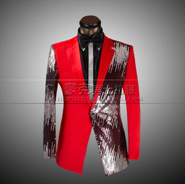 Red black blue 2017 arrival slim sequins font b men b font font b suit b