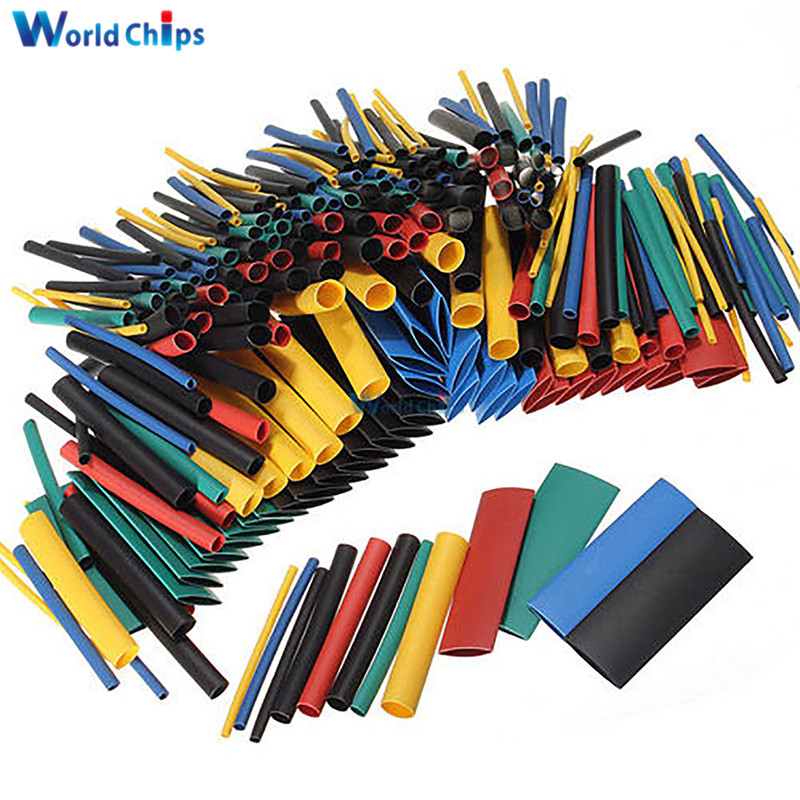 127/140/328/530Pcs Assorted Polyolefin Heat Shrink Tubing Tube Cable Sleeves Wrap Wire Set 8 Size Multicolor/Black
