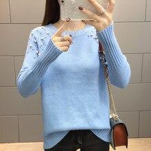 Azul blanco suéter perlas para mujer suéteres de Otoño de 2018 de moda de  invierno de f8b239f563eb