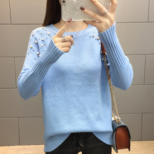 Blue White Sweater Pearls Pull Femme Pullovers 2018 Fall Winter Fashion Solid Color O Neck Casual Ribbed Knitted Women Wild Tops