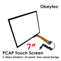 Obeytec 7 Projected Capacitive Touchscreen, Wide screen, USB/I2C Controller, Plug and Play, Driver free
