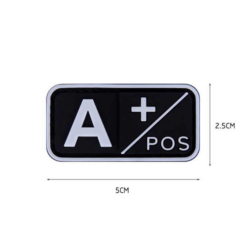 Łatka 3D PVC A + B + AB + O + pozytywna POS a-b-ab-o-ujemna NEG grupa krwi Patch taktyczna wojskowa gumowe odznaki Morale