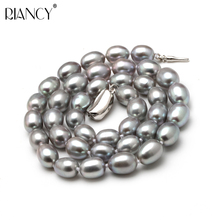 High Quality Pearl Necklace 8-9MM gray Natural freshwater freshwa Choker 925silver for Women Classic Jewelr