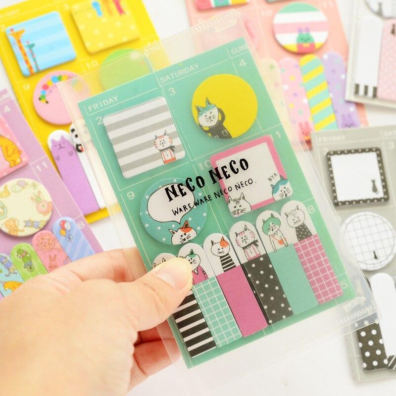 1X gatinho bonito plano semanal Sticky Notes Post Memo Pad papelaria kawaii Material Escolar Planejador Adesivos Bookmarks