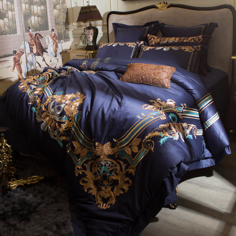 Luxury Blue Red European Gold Royal Embroidery 120S/1000TC Egyptian Cotton Palace Bedding Set Duvet Cover Bed sheet Pillowcases