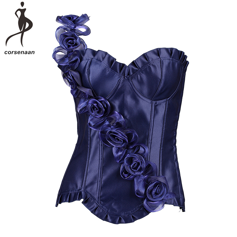 3 Hooks Closure Sexy Christmas Lingerie Dance Wear Costumes Blue Women's Floral   Bustier     Corset   With G String 806#