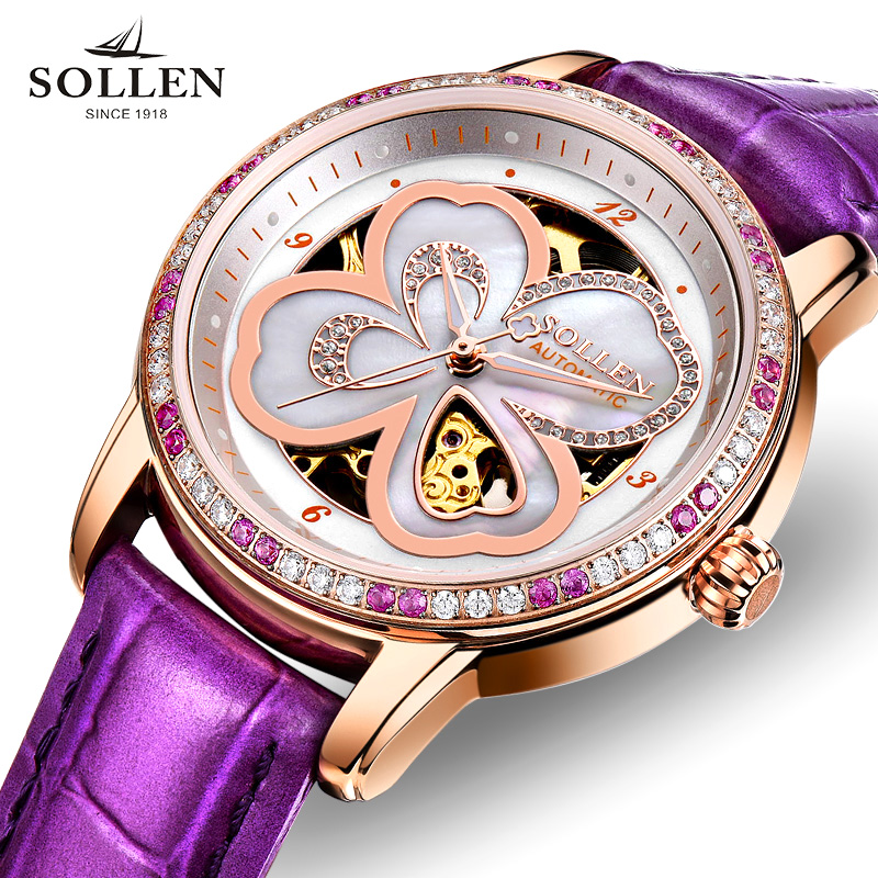Orologio Donna New Luxury Brand SOLLEN Women Lether Strap Dress Watches Lucky Clover Automatic Mechanical Ladies Dress Watches reloj mujer skeleton women watch luxury brand sollen lucky clover girl automatic mechanical ladies dress watches rose gold gift