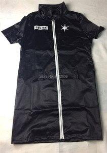 Image 5 - セクシーな女性警官役員女性警官衣装黒ジッパーサテン警察女性のセクシーなコスプレ衣装