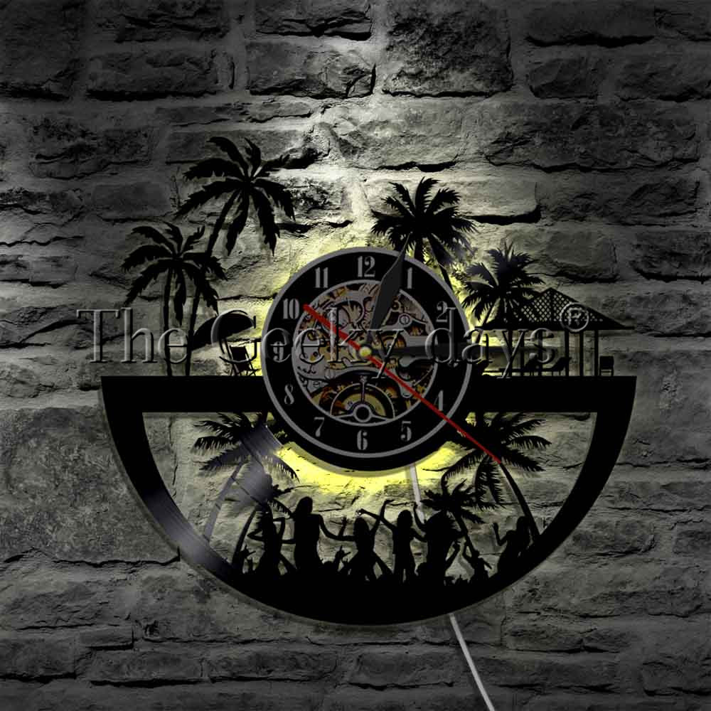 1Piece LED Wall Art City of Myrtle Beach Clock Glow in Dark USB Wall Lights Vintage Design Illuminated Wall Clock