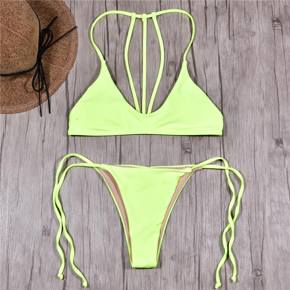 Marca traje de baño las mujeres traje de baño Push Up Sexy Micro Bikinis natación traje de baño ropa de playa verano Bikini brasileño 2019