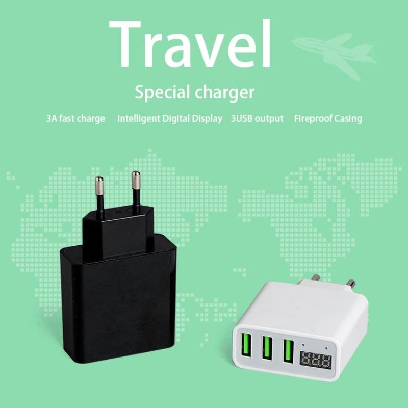 New 3 Port USB Phone Charger LED Display EU/US Plug Smart Fast Charging Mobile Wall Charger
