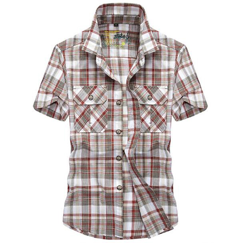 New Men Shirts Brand Casual Cotton Shirt Short Sleeve Shirt Young Man Loose Summer Plaid Plus Size Shirt