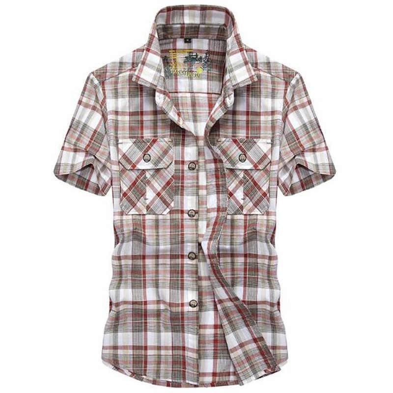 Nieuwe Mannen Shirts Merk Casual Katoenen Shirt Korte Mouwen Jong Man Losse Zomer Plaid Plus Size Shirt