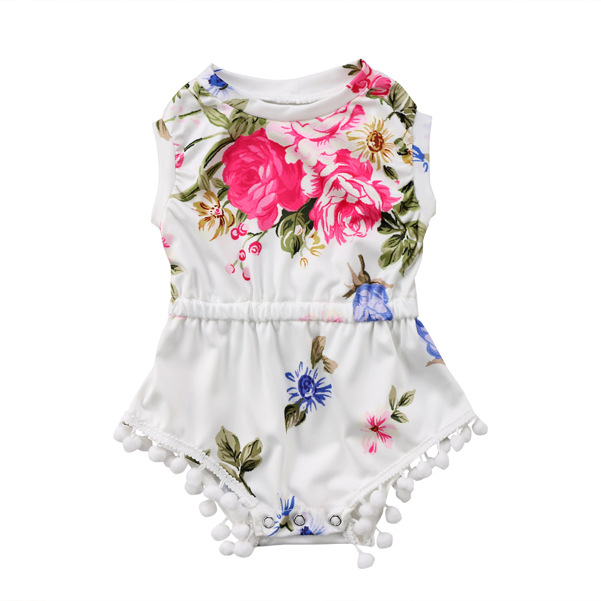 2018 New Newborn Toddler Baby Girl Clothes Floral Pom Pom Romper Cotton Sleeveless Jumpsuit Summer Flower Baby Girls Clothing