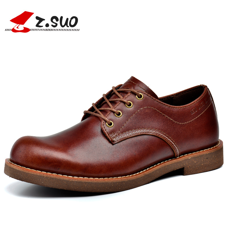 Z. Suo Men 's Shoes New Spring and Autumn Casual Leather Men's Shoes Solid Color Europe Retro Shoes Men Zapatos Bots Zs16702 z suo men s shoes the new spring and autumn ankle leather casual shoes fashion retro rubber sole lace mens shoes zsgty16066