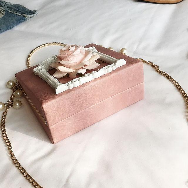 2019 Vintage Embossed Women Handbag Luxury Brand Pearl Chain Box Bag Female Pu Leather Shoulder Bag Diamonds Evening Bags Ladies 5