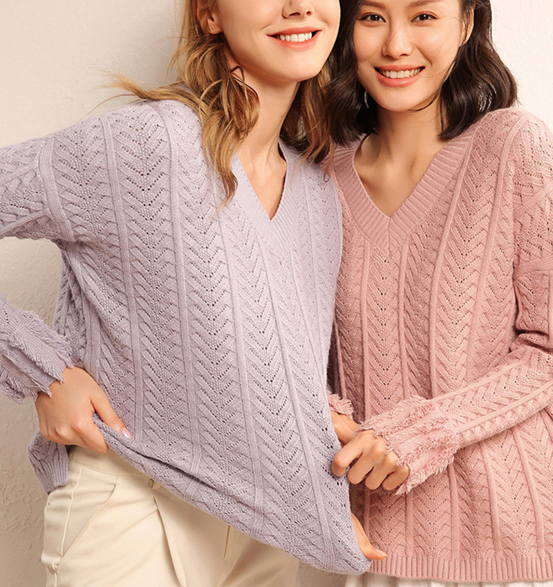 Soft Cashmere Ear of Wheat Hollow Out Sweaters and Pullovers for Women Warm Spring Autumn Fluffy
